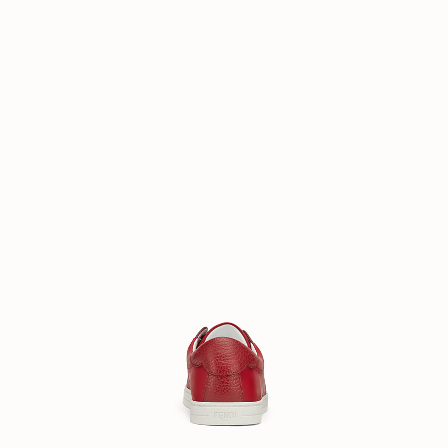 FENDI SNEAKERS - Red leather slip-ons - view 3 detail