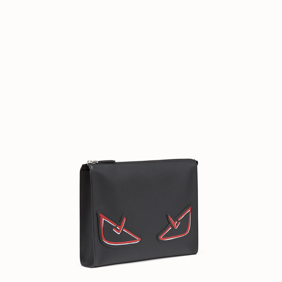 FENDI CLUTCH - Black leather pochette - view 2 detail