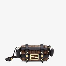 FENDI BAGUETTE MINI CAGE - Tasche aus Leder und Stoff Mehrfarbig - view 1 thumbnail