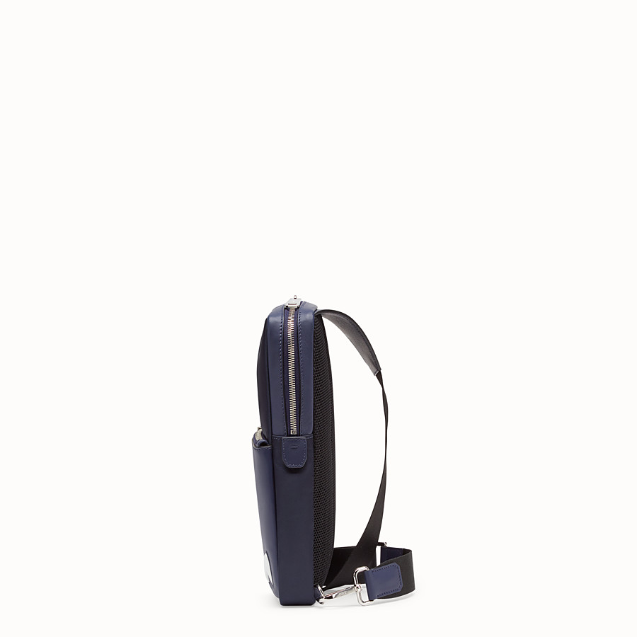 FENDI BELT BAG - One-shoulder backpack in blue leather and nylon - view 2 detail