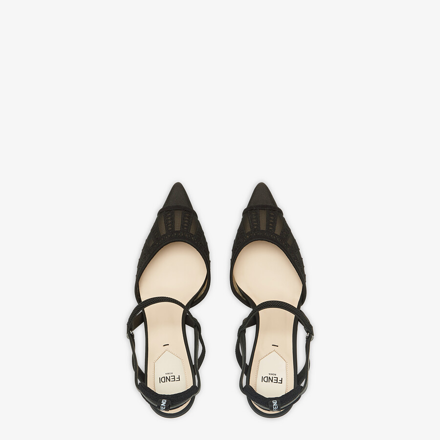 FENDI COLIBRI LITE SLINGBACKS - Black micro-mesh slingbacks - view 4 detail