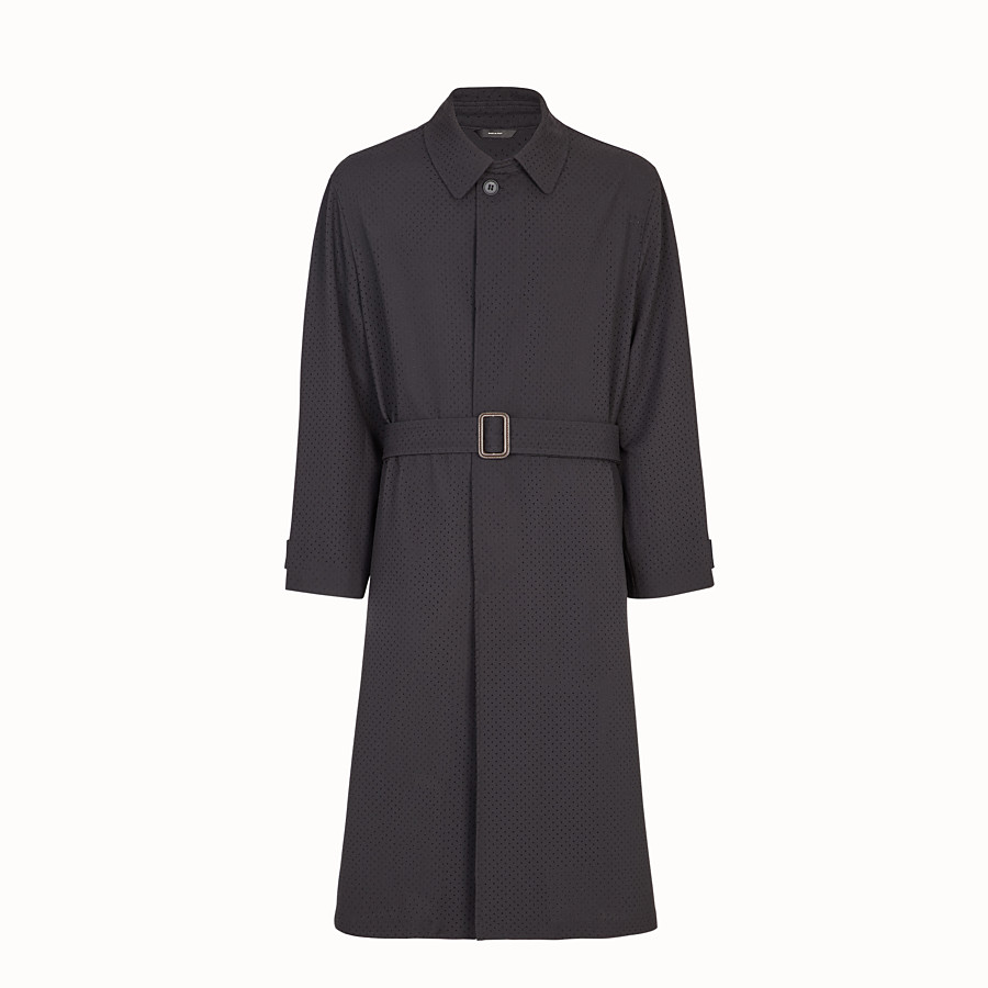 FENDI TRENCH COAT - Black twill trench coat - view 1 detail