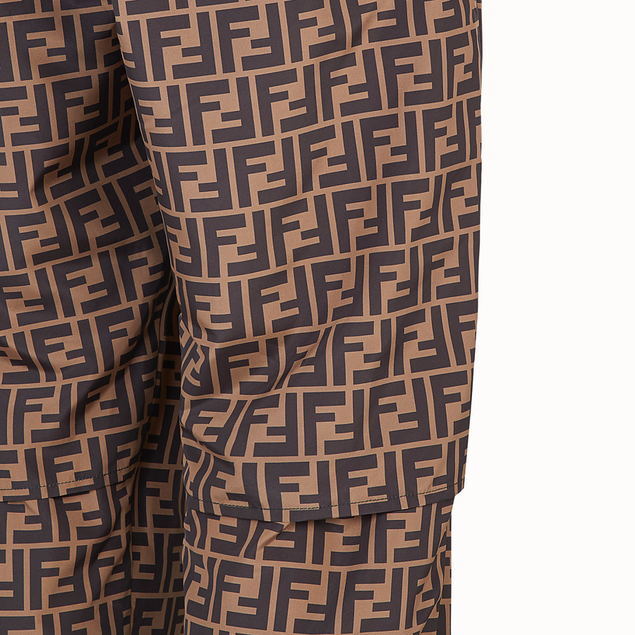 FENDI TROUSERS - Brown nylon trousers - view 3 detail