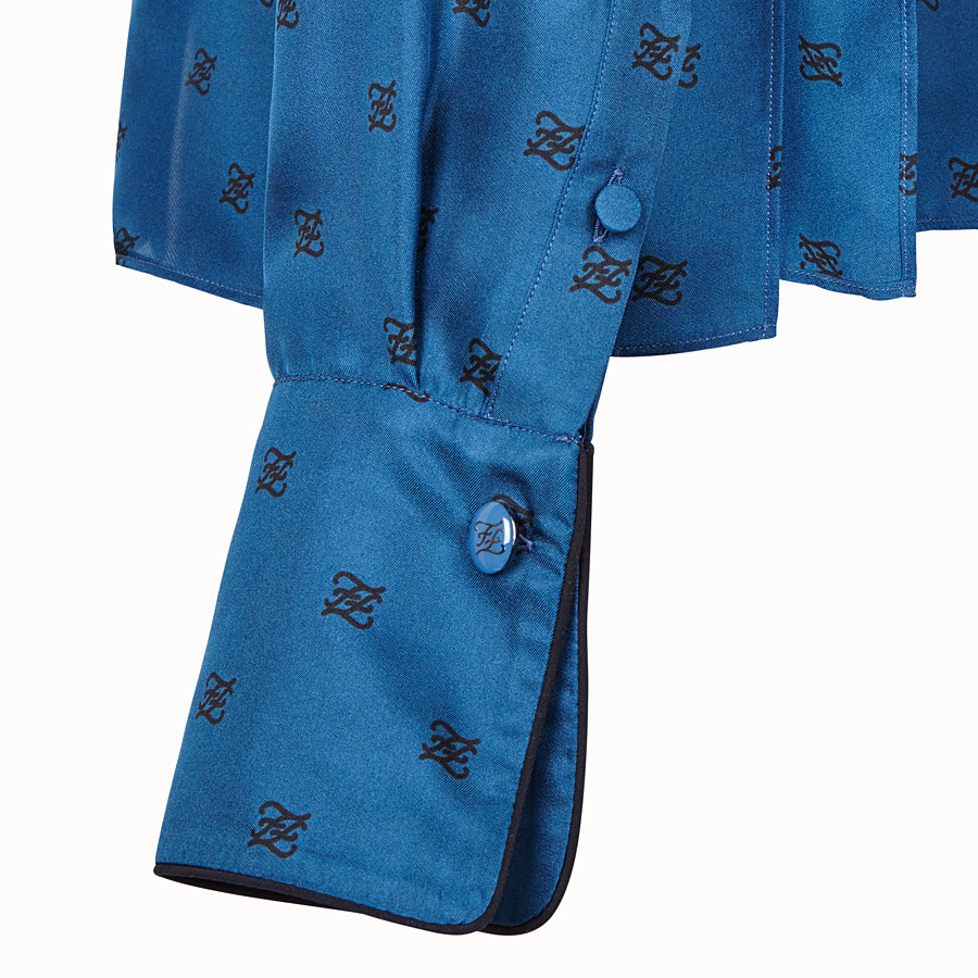 FENDI SHIRT - Blue silk blouse - view 3 detail