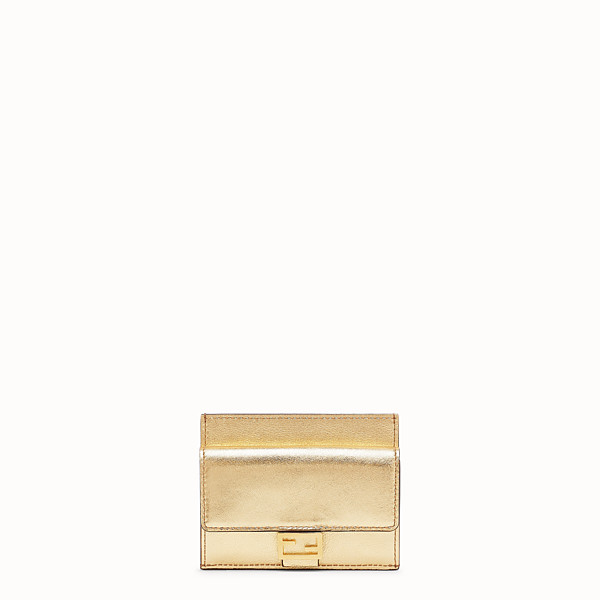 FENDI CARD HOLDER - Gold leather card holder - view 1 small thumbnail