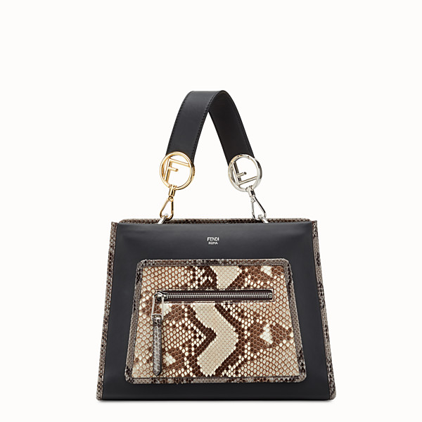 FENDI RUNAWAY SMALL - Black leather bag with exotic details - view 1 small thumbnail