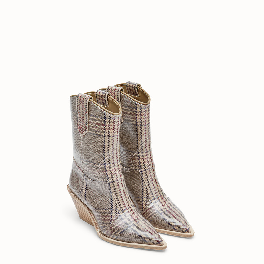 FENDI BOOTS - Multicolour fabric ankle boots - view 4 detail