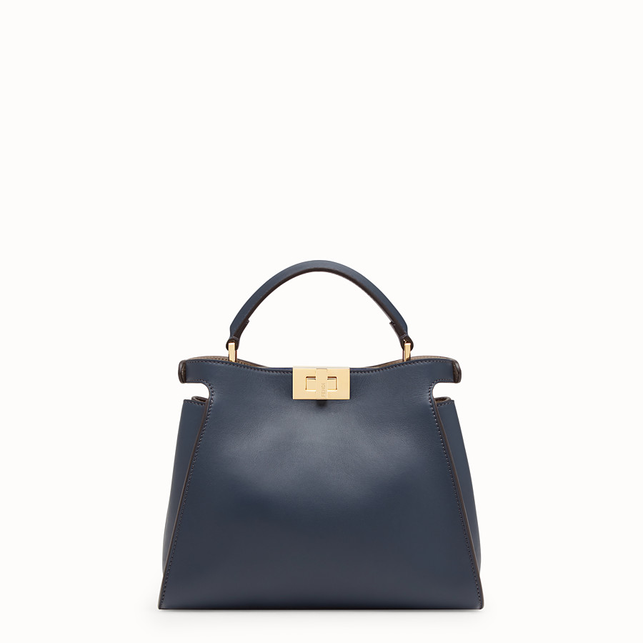 FENDI PEEKABOO ESSENTIALLY - Blue leather bag - view 3 detail