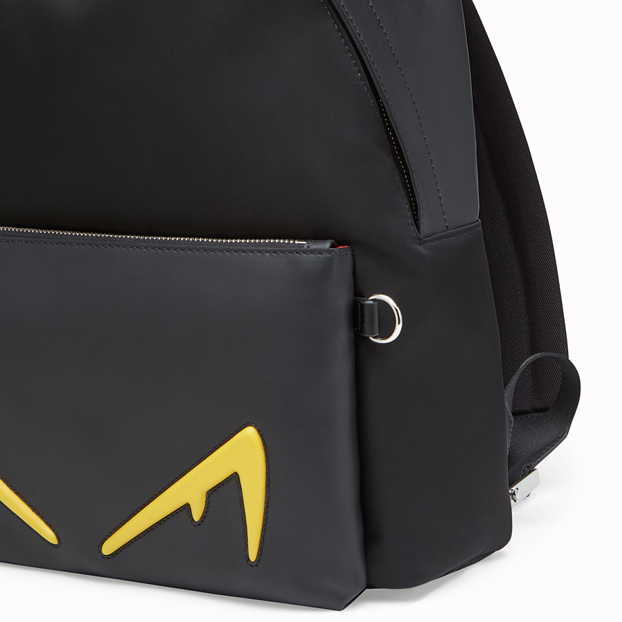 FENDI BACKPACK - Black leather and nylon backpack - view 4 detail