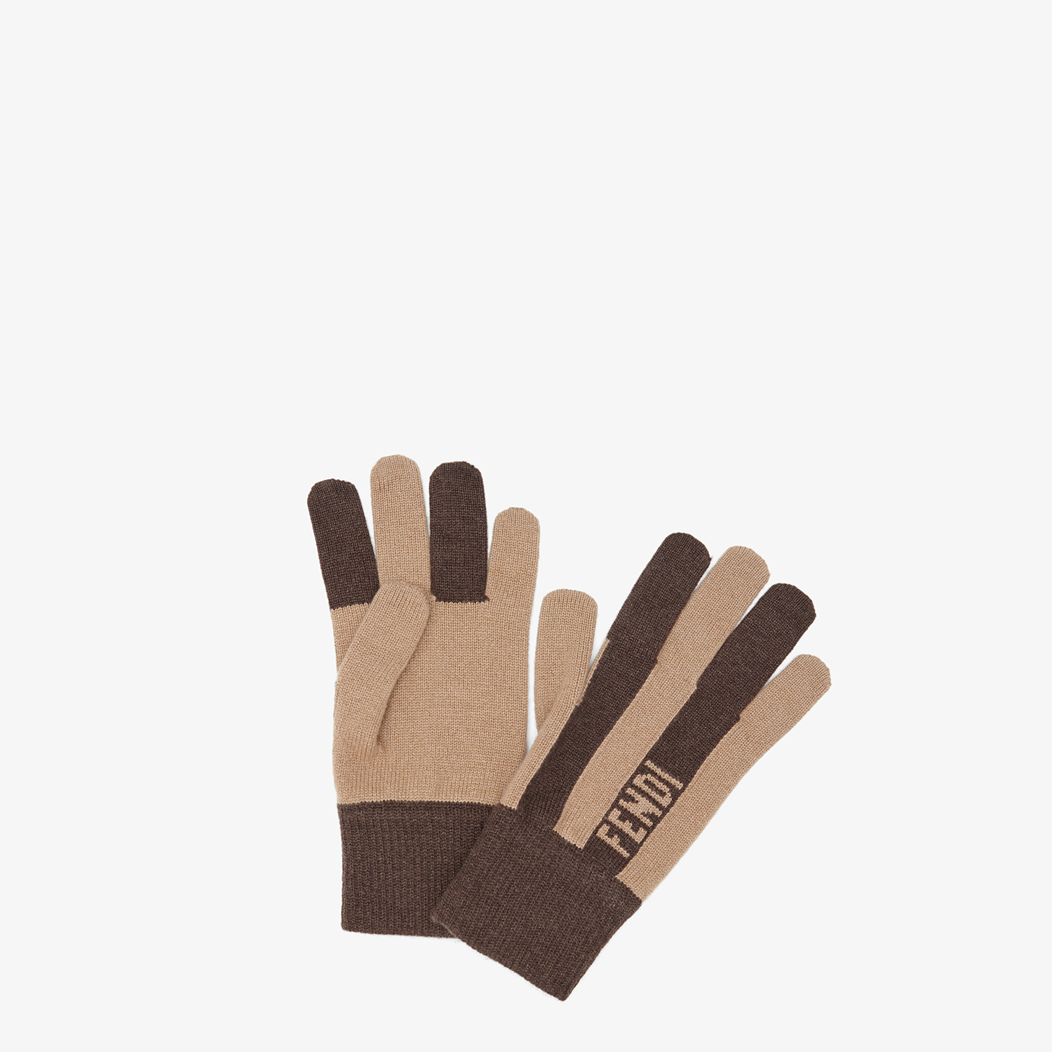 FENDI GLOVES - Brown cashmere gloves - view 1 detail
