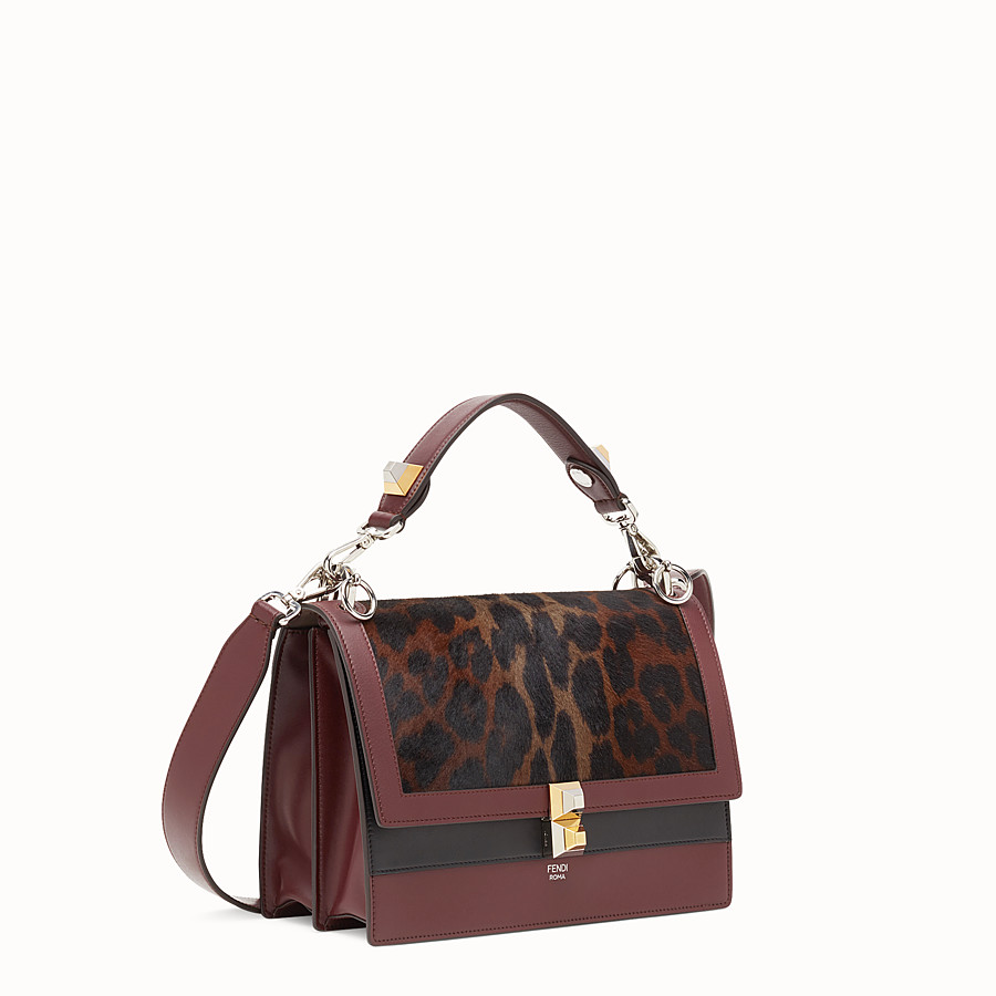 FENDI KAN I - Burgundy leather and pony skin handbag - view 2 detail