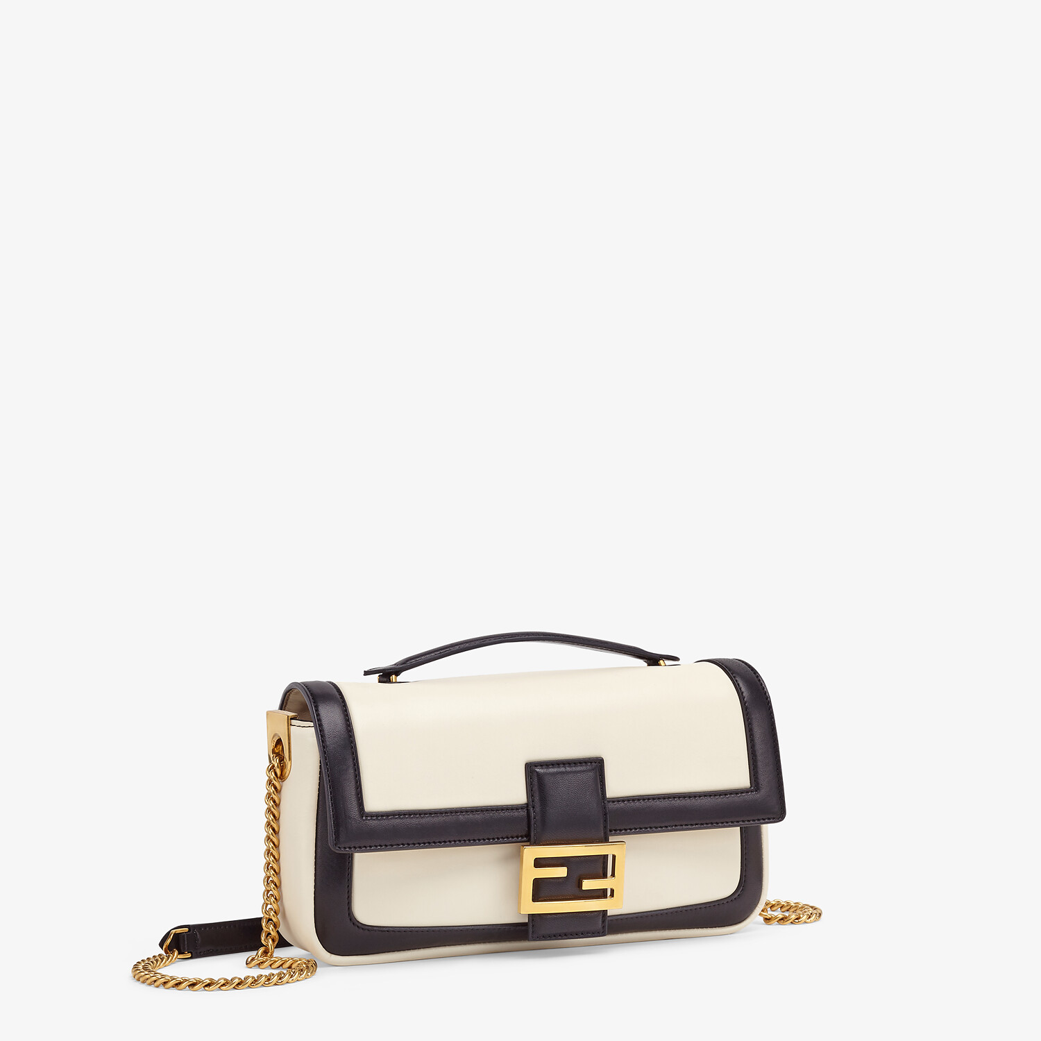 FENDI BAGUETTE CHAIN - Black and white nappa leather bag - view 3 detail