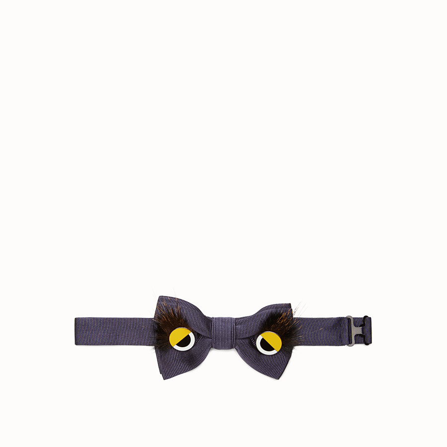 FENDI BOW TIE - Blue silk and fur bow tie - view 1 detail