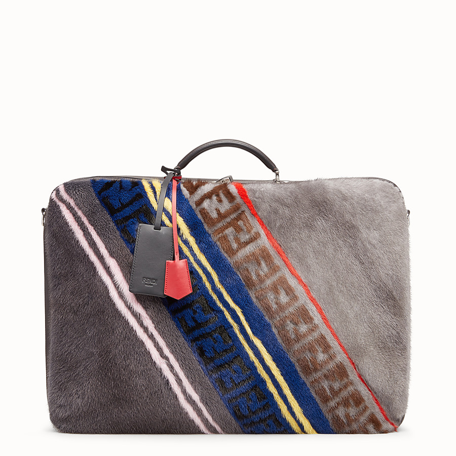 FENDI SUITCASE - Multicolour leather and mink suitcase - view 1 detail