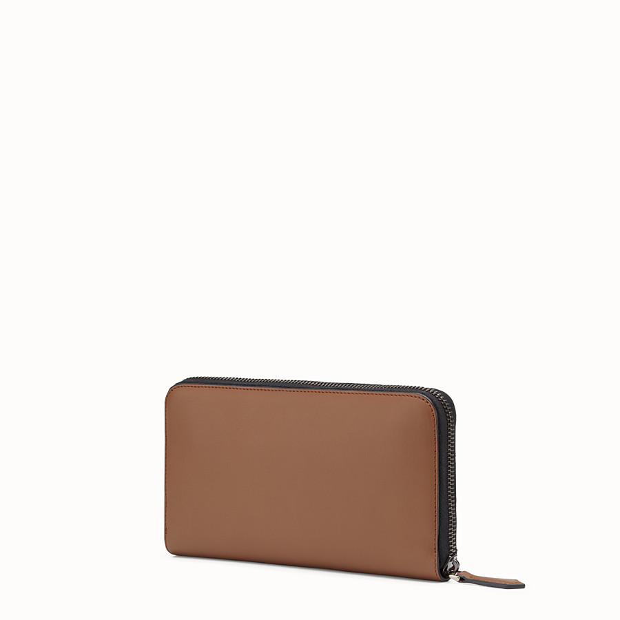 FENDI WALLET - Mocha-coloured leather zip-around wallet - view 2 detail