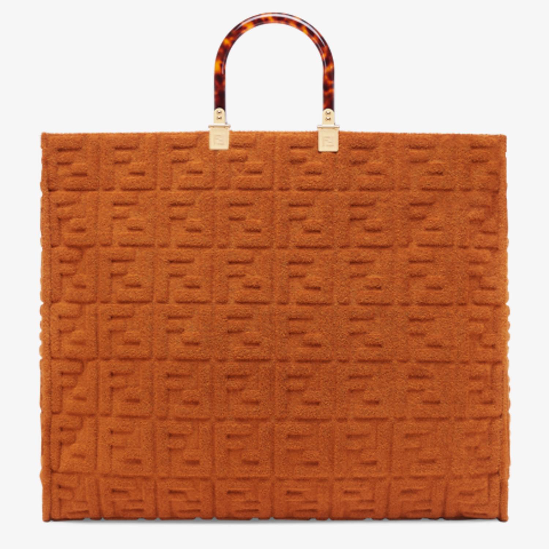 FENDI FENDI SUNSHINE XL - Shopper in brown terrycloth - view 3 detail