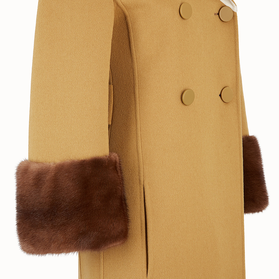 FENDI OVERCOAT - Yellow wool overcoat - view 3 detail