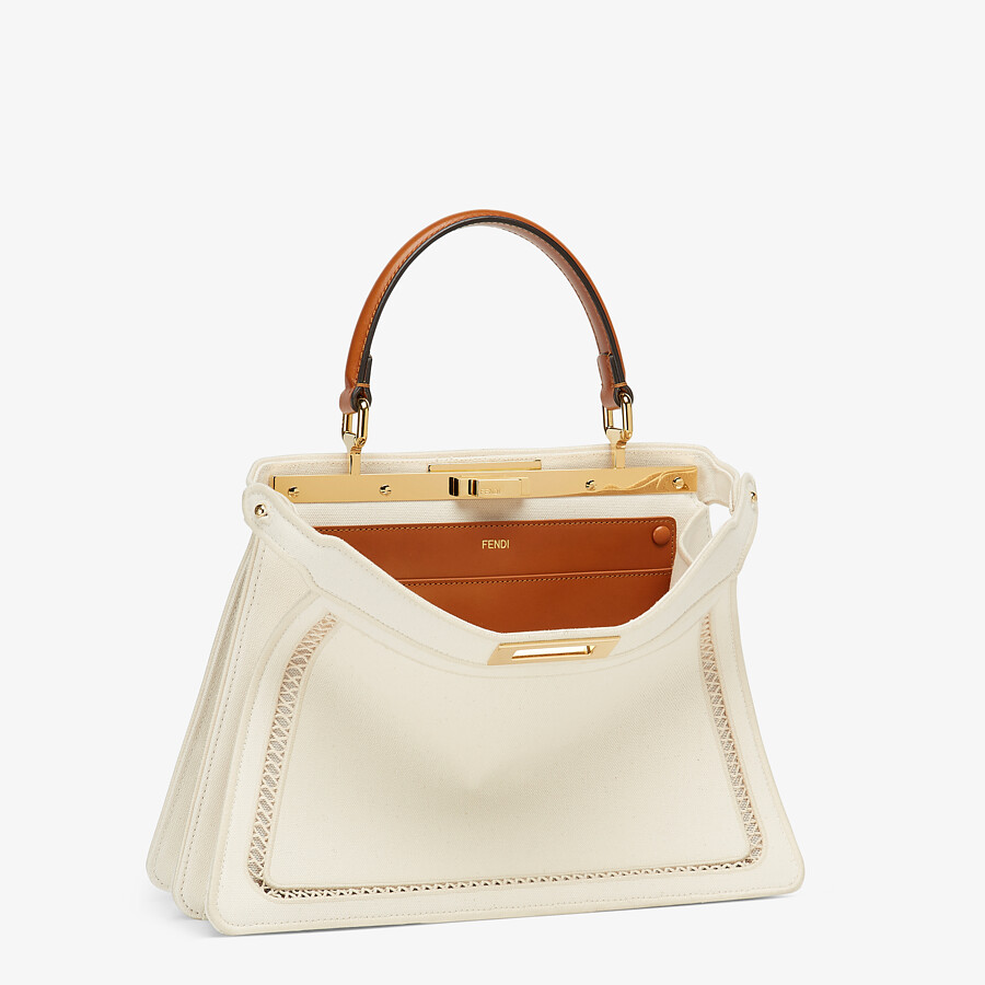 FENDI PEEKABOO ISEEU MEDIUM - White canvas bag with embroidery - view 5 detail
