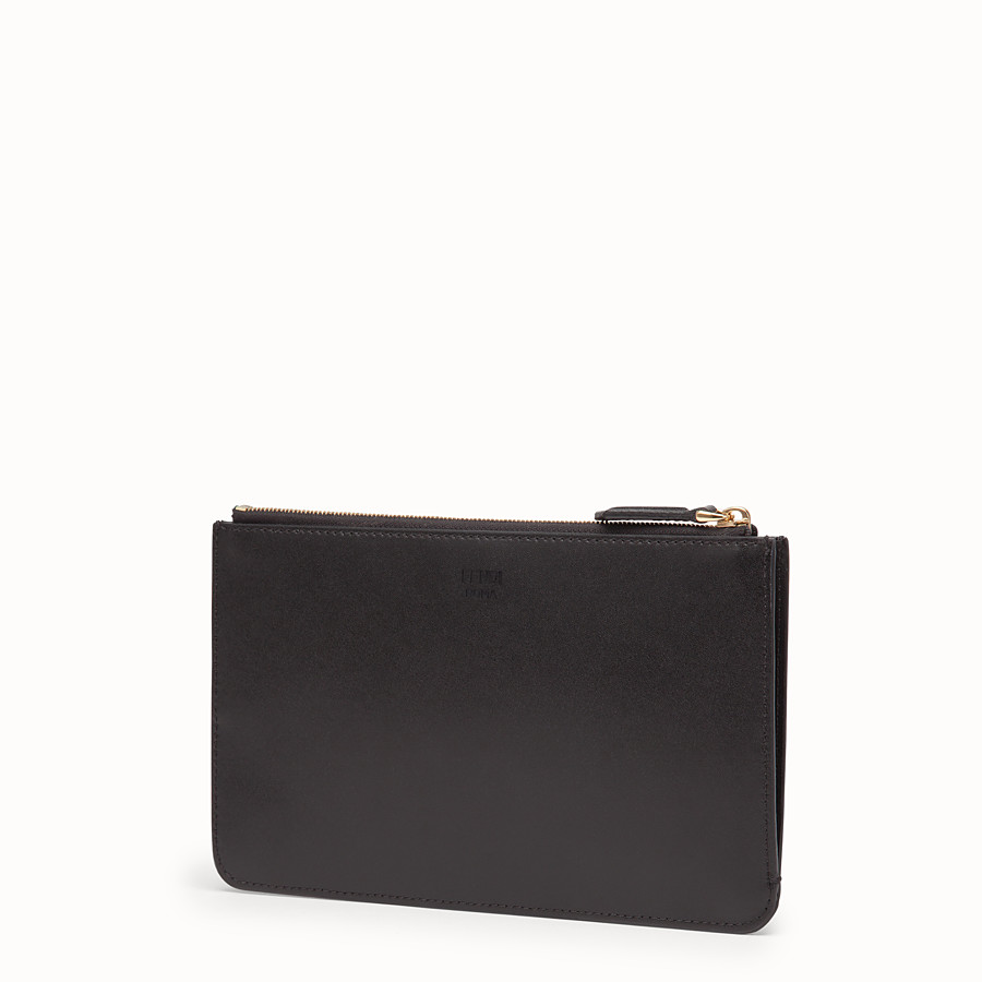 FENDI FLAT CLUTCH - Black leather pochette - view 2 detail