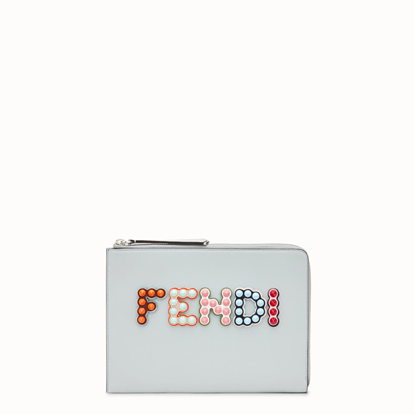 FENDI FLAT CLUTCH - Grey leather pouch - view 1 small thumbnail