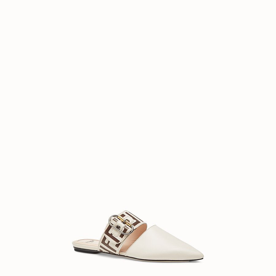 FENDI SABOT - White leather sabot - view 2 detail