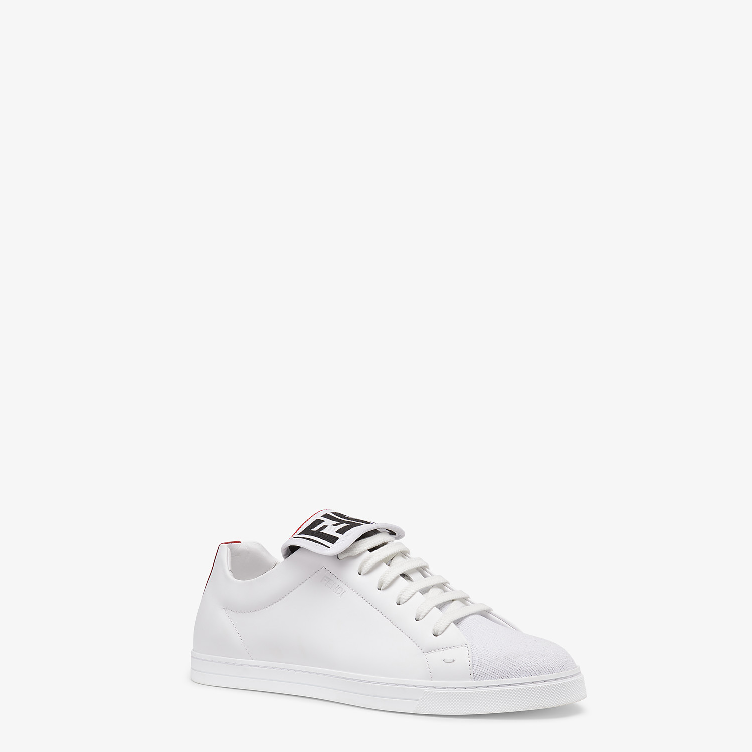 FENDI SNEAKERS - White mesh and leather low-tops - view 2 detail