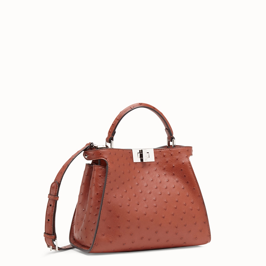 FENDI PEEKABOO ICONIC ESSENTIALLY - Red ostrich bag - view 2 detail