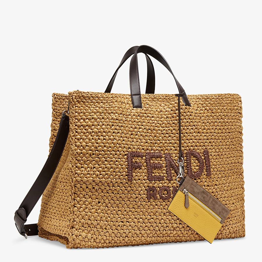 FENDI TOTE BAG - Beige raffia bag - view 2 detail