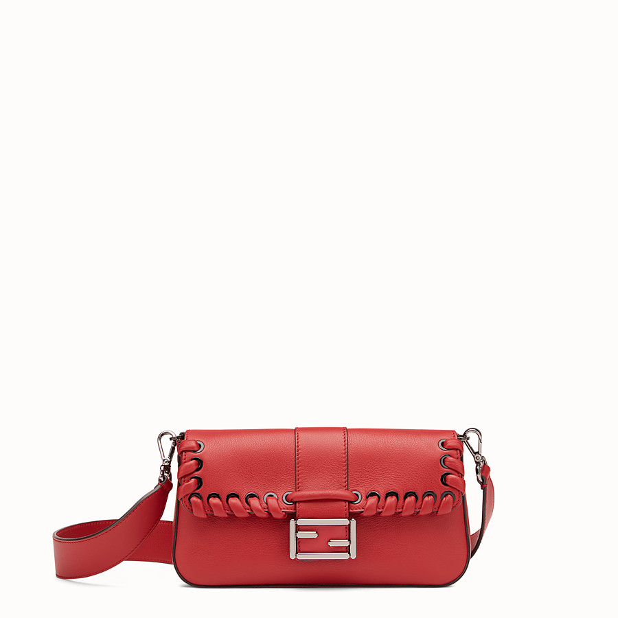 FENDI BAGUETTE - Red leather shoulder bag - view 1 detail