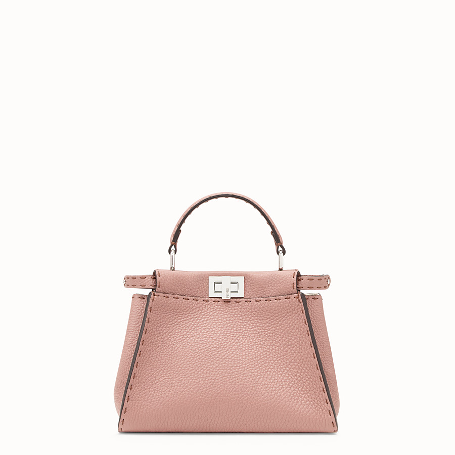 FENDI PEEKABOO MINI - Pink leather bag - view 1 detail