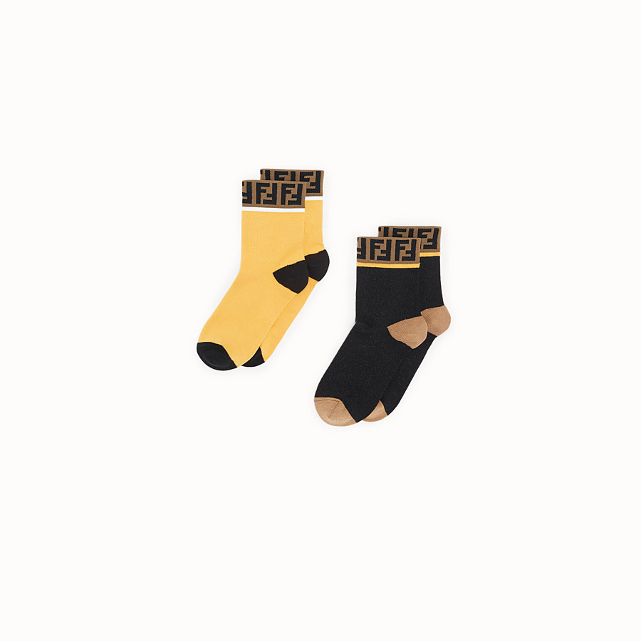 FENDI SOCKS - Pair of yellow and black cotton socks - view 1 detail
