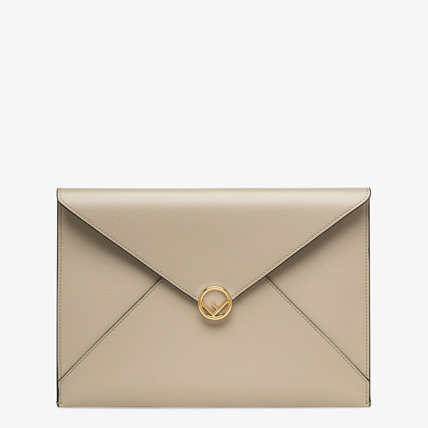 FENDI FLAT POUCH LARGE - Beige leather pouch - view 1 detail