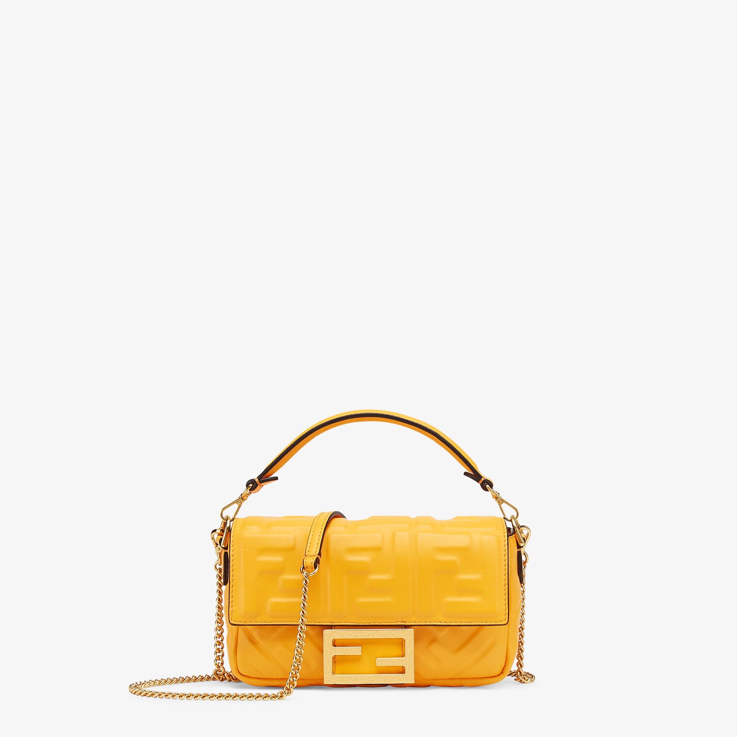 FENDI BAGUETTE - Orange nappa leather bag featuring the FF motif - view 1 detail