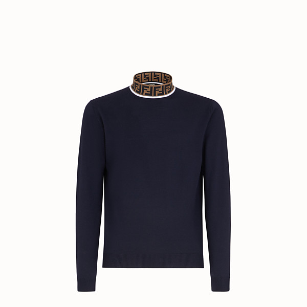 FENDI TURTLENECK - Blue wool jumper - view 1 small thumbnail