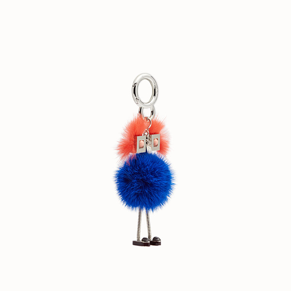 FENDI CHICK BAG CHARM - Charm in blue and orange fur - view 1 small thumbnail