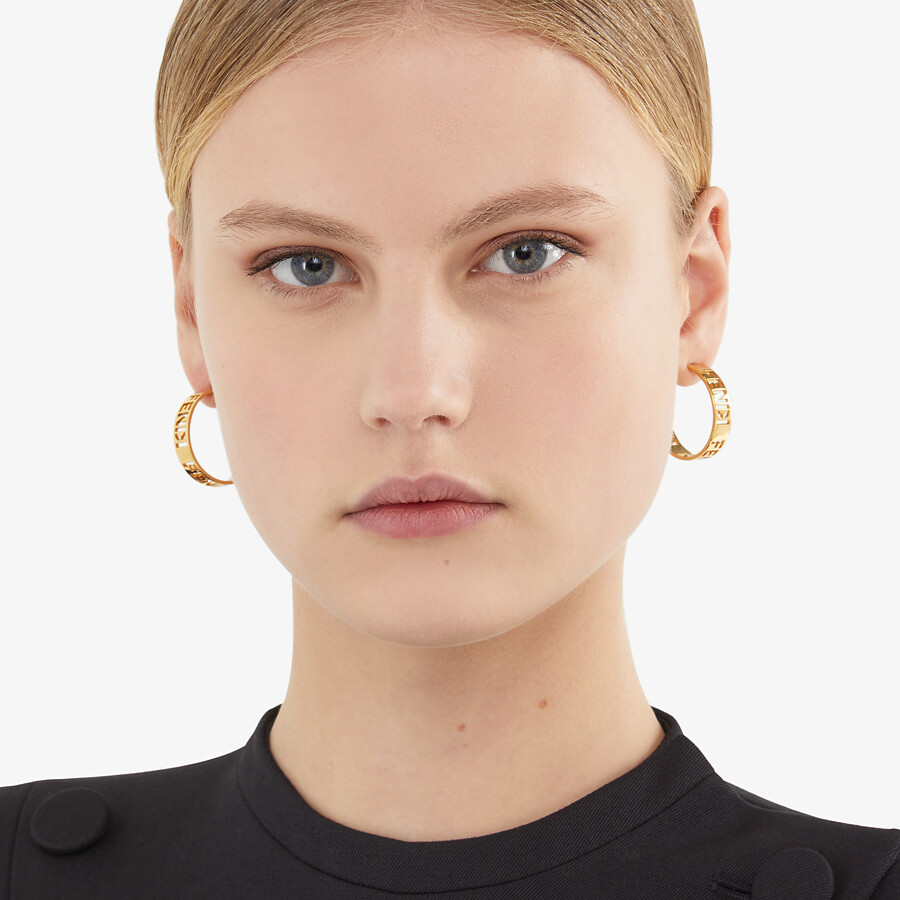 FENDI SMALL SIGNATURE EARRINGS - Gold-colored earrings - view 2 detail
