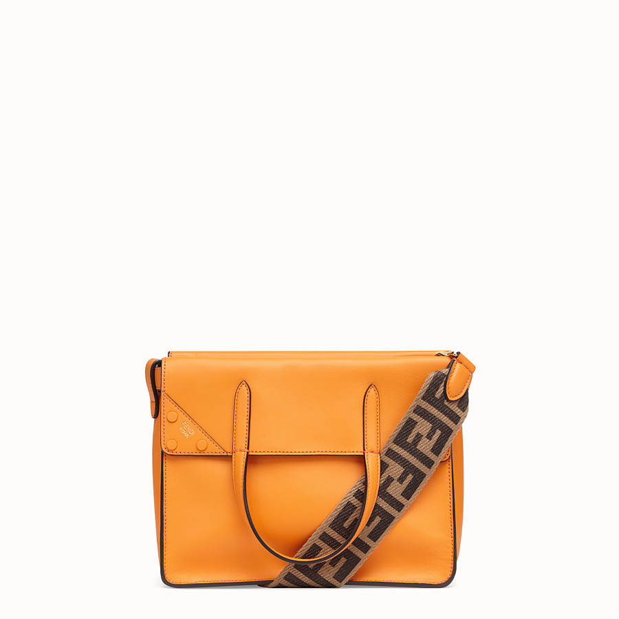 FENDI FENDI FLIP REGULAR - Orange leather bag - view 1 detail