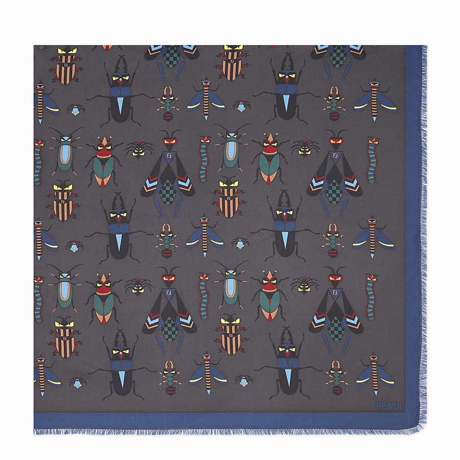 FENDI KEFFIYEH - Grey silk scarf - view 2 detail