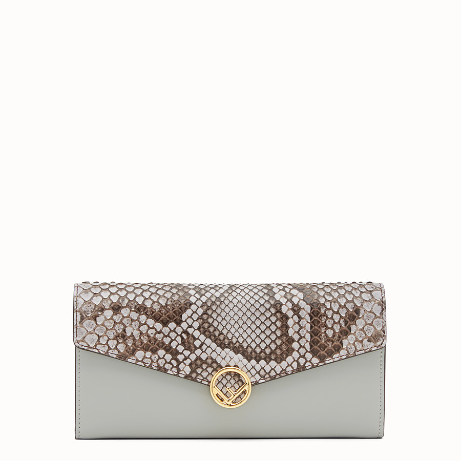 FENDI CONTINENTAL - Grey leather wallet, exotic details - view 1 detail