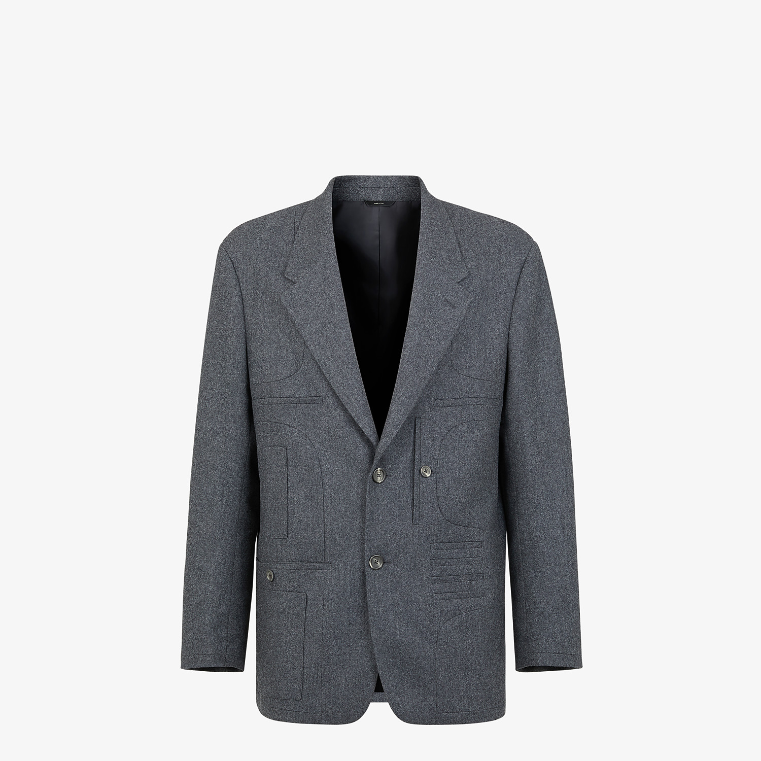FENDI JACKET - Gray wool blazer - view 1 detail