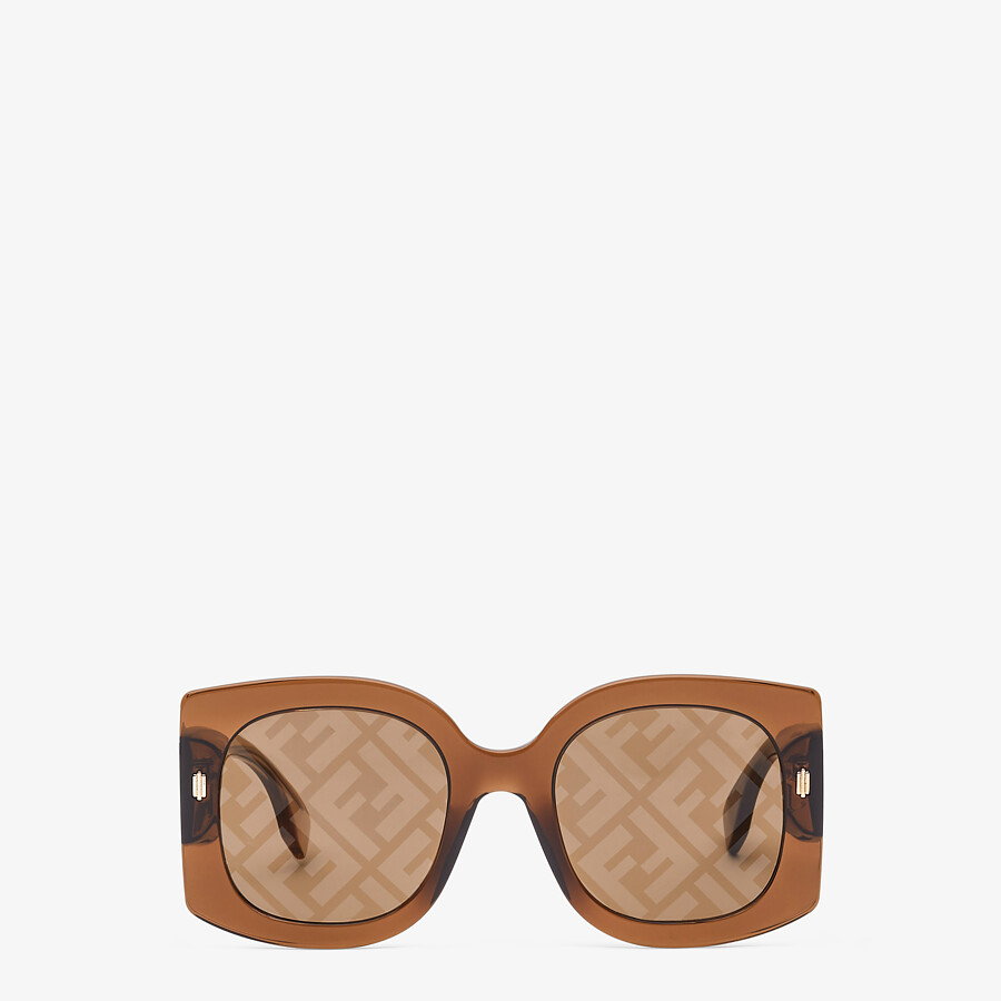 FENDI FENDI ROMA - Sunglasses in transparent brown acetate - view 1 detail