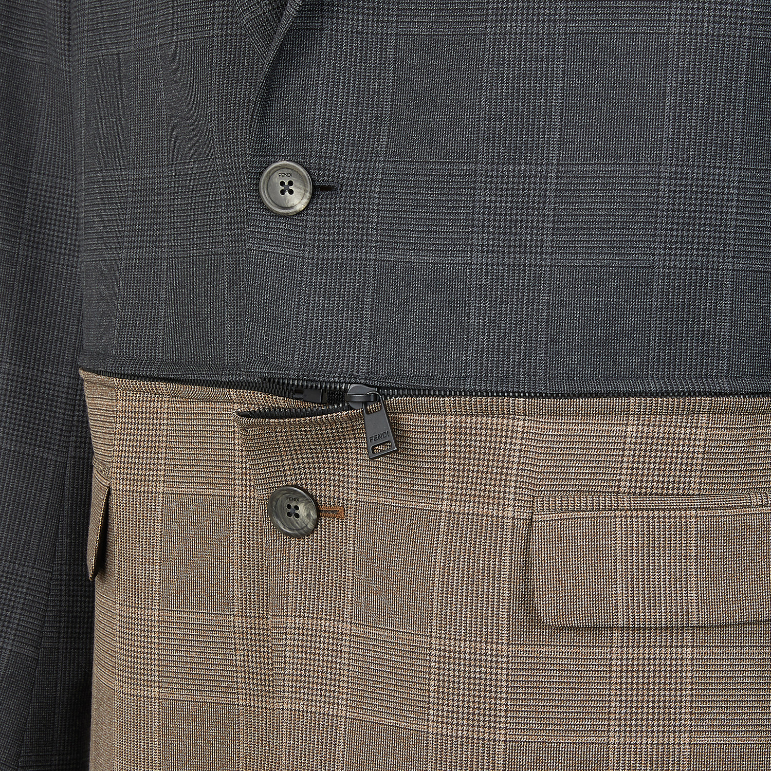 FENDI JACKET - Multicolour Prince of Wales check blazer - view 4 detail
