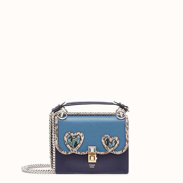 FENDI KAN I SMALL - Blue leather mini-bag with exotic details - view 1 small thumbnail