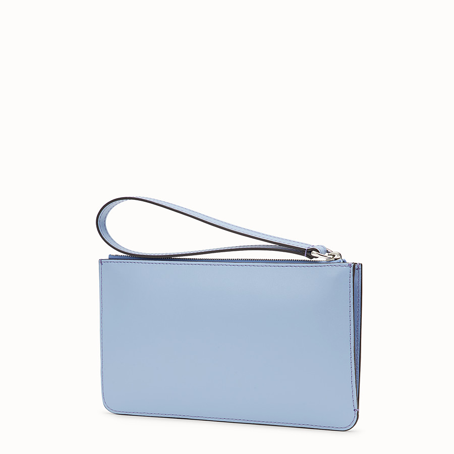 FENDI FLAT CLUTCH - Light blue leather pouch - view 2 detail