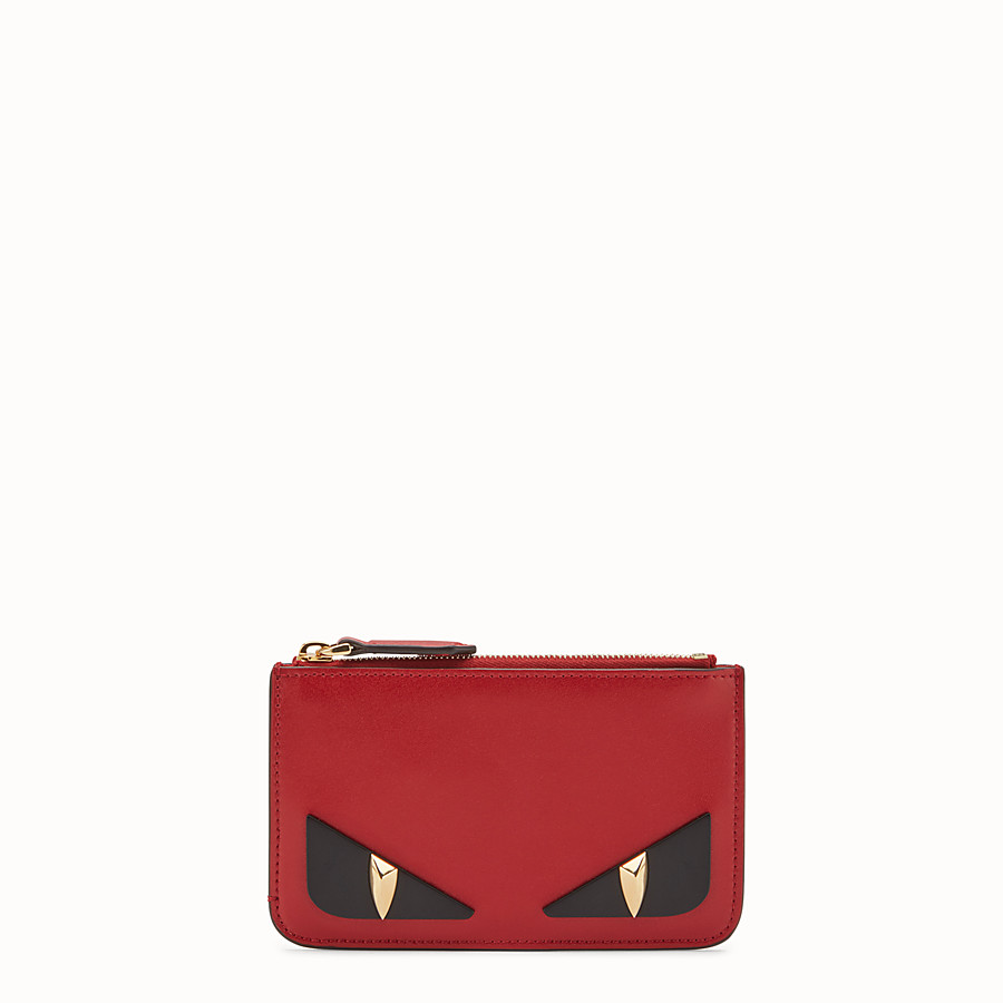 FENDI KEY RING POUCH - Red leather pouch - view 1 detail