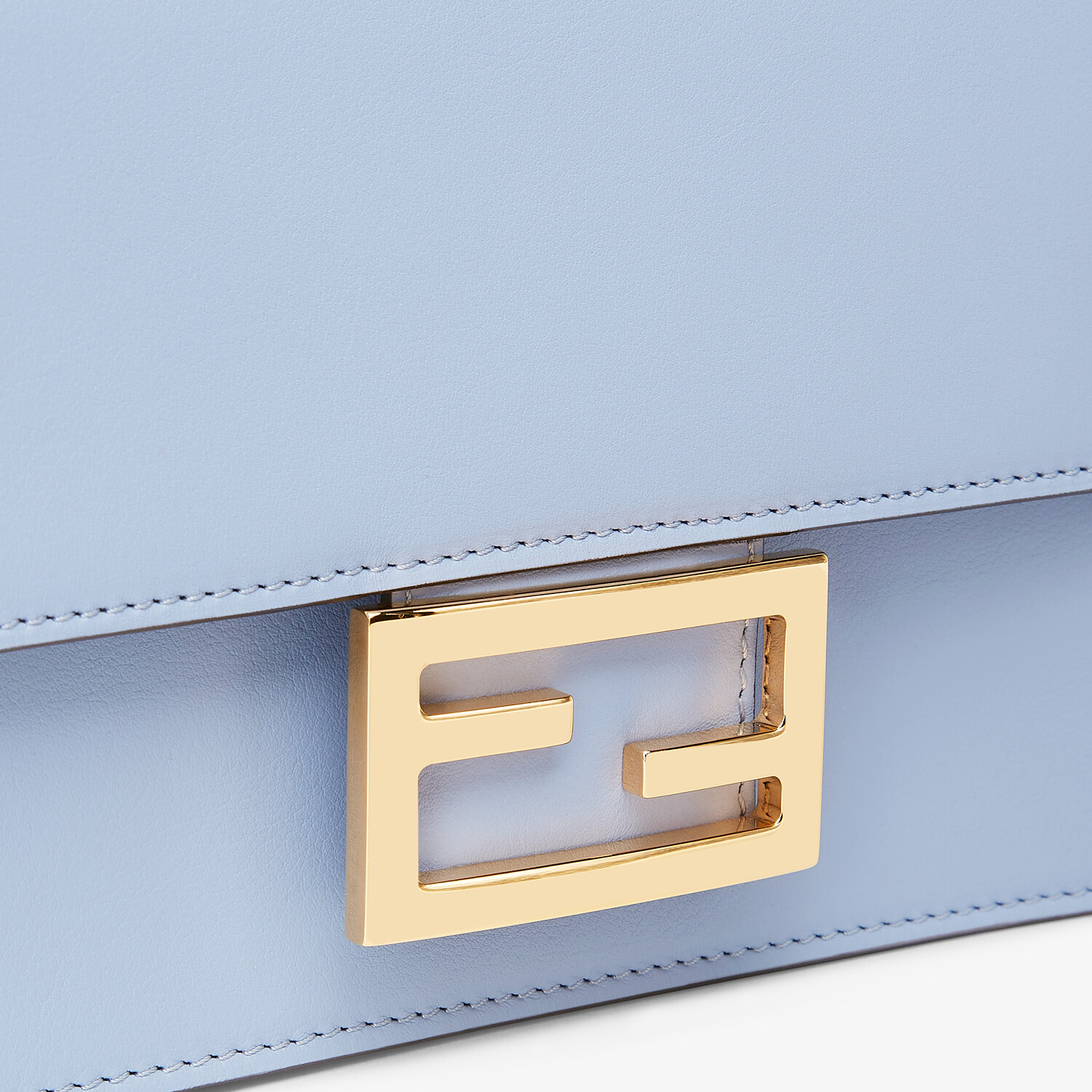 FENDI FLAT BAGUETTE - Light blue leather mini-bag - view 6 detail