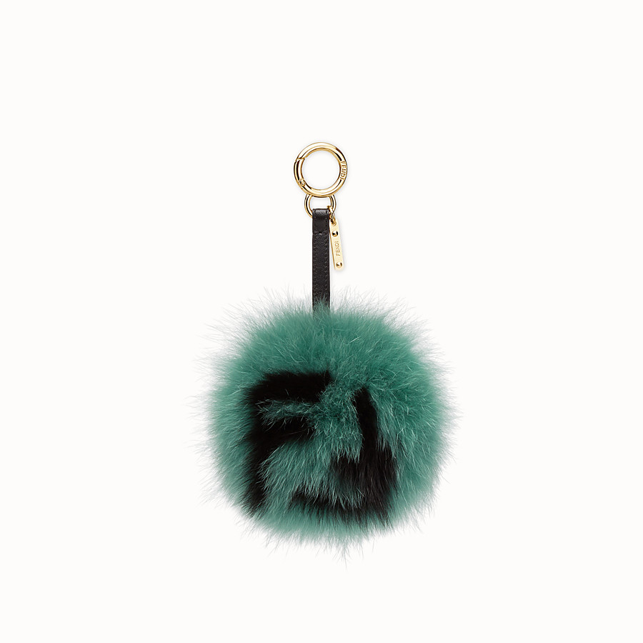 FENDI POM-POM CHARM - Green fur charm - view 1 detail