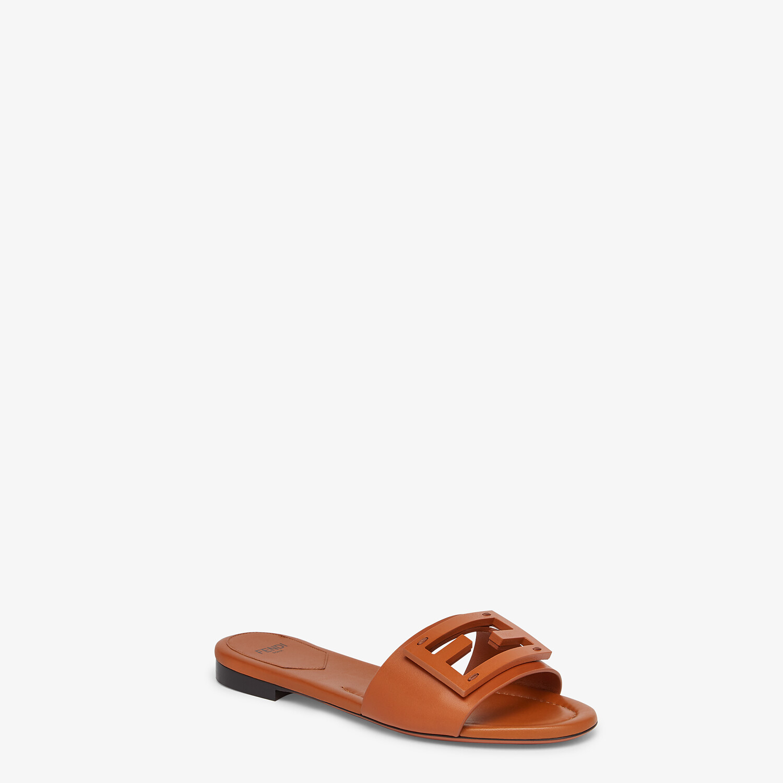 FENDI SIGNATURE - Brown leather slides - view 2 detail