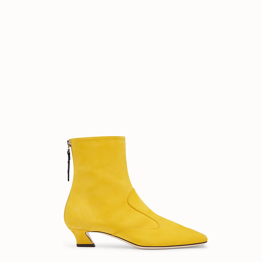 FENDI BOOTS - Yellow nubuck booties - view 1 detail