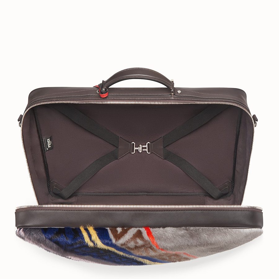FENDI SUITCASE - Multicolour leather and mink suitcase - view 4 detail